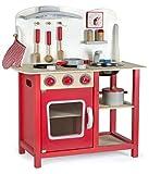 Leomark Classic Spielküche aus Holz - Farbe Rot - Kinderküche mit Zubehör, Holzküchemit...