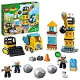 LEGO 10932 DUPLO Baustelle mit Abrissbirne, Bauset mit Spielzeuglastwagen, Kran und Radlader,...