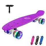 BELEEV Skateboard 22 Zoll Komplette Mini Cruiser Retro Skateboard für Kinder Jugendliche...