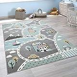 Paco Home Kinder-Teppich Mit Straßen-Motiv, Spiel-Teppich Für Kinderzimmer, In Grün Grau,...