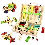 Werkzeugkoffer Kinder Holzspielzeug Werkzeugkasten-Kinderwerkzeug Lernspielzeug Werkzeug Kinder...