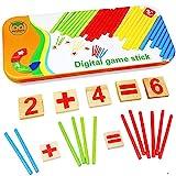 Natureich Montessori Mathe Spielzeug Holz Metallbox zum Aufbewahren Zahlen Lernen Rechenstäbchen...