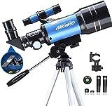 Aomekie Teleskop Kinder Einsteiger 70MM Teleskop Astronomie mit Smartphone Adapter Aluminium Stativ...