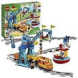 """LEGO 10875 DUPLO Güterzug, """"Push & Go""""-Lok mit Lichtern und Geräuschen, Funktionssteinen und 2..."""