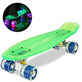WeSkate 55CM Mini Cruiser Skateboard Blinkender Deck, Kunststoff Skateboard mit LED Leuchten/Deck...