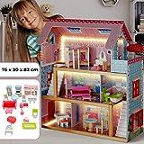 Puppenhaus aus Holz mit LED licht - 3 Spielebenen, mit Möbeln und Zubehör, für 13 cm große...