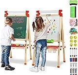 Joyooss Holz Kinder Staffelei mit Papierrolle, Magnetische Doppelseitige Kreidetafel und Whiteboard,...