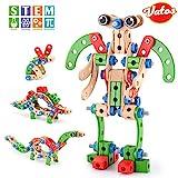 VATOS Gebäude Spielzeug für Kinder, STEM Bausteine BAU Holzgebäude Spielzeug 96 PCS,...