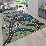 Paco Home Kinder-Teppich Für Kinderzimmer, Spiel-Teppich Mit Straßen-Motiv, In Grün,...