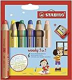 Buntstift, Wasserfarbe & Wachsmalkreide - STABILO woody 3 in 1 - 6er Pack mit Spitzer - mit 6...