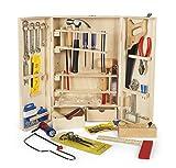 Leomark Deluxe Holz Werkzeug für Kinder - 50-TLG - Werkzeugkasten, Kompakter Werkzeugkoffer,...