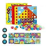 Fansteck Mosaik Steckspiel für Kinder für 1, 2, 3 Jahre, Steckmosaik mit 46 Steckperlen und 12...