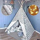 Tiny Land Tipi Spielzelt für Kinder Kinderzimmer mit Gepolsterter Decke & Lichterkette- Drinnen...