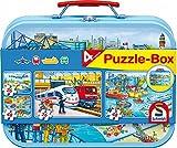 Schmidt Spiele 56508 Verkehrsmittel, Puzzle-Box im Metallkoffer, 2x26 und 2x48 Teile Kinderpuzzle,...