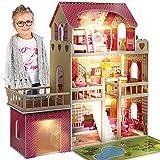 Kinderplay Puppenhaus Holz Gross, Puppenvilla, Puppenhaus Holz Groß komplett - Barbie Traumvilla,...