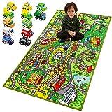 JOYIN Teppich Spielmatte mit 12 Autos Pull-Back Fahrzeugset für Kinder ab 3 Jahren, Jumbo...