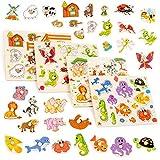 THE TWIDDLERS 4 Holzpuzzle Steckpuzzle Greifpuzzle für Babys & Kleinkinder - Bauernhof,...